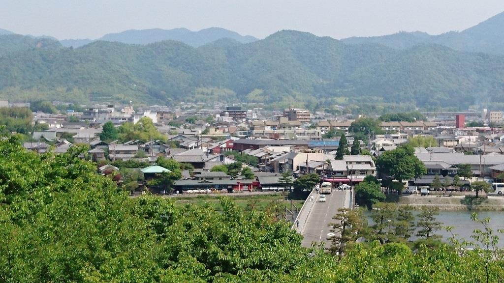 京都 嵐山 渡月橋 法輪寺からの風景